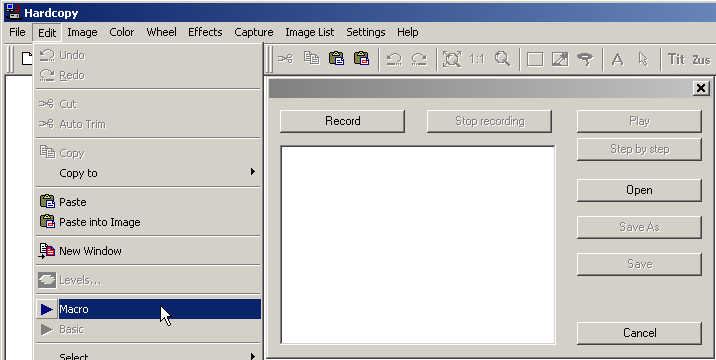 Hardcopy Macro menu and window