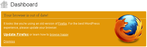 WordPress 3 2 Checks That Your Browser Is Up To Date With Browse