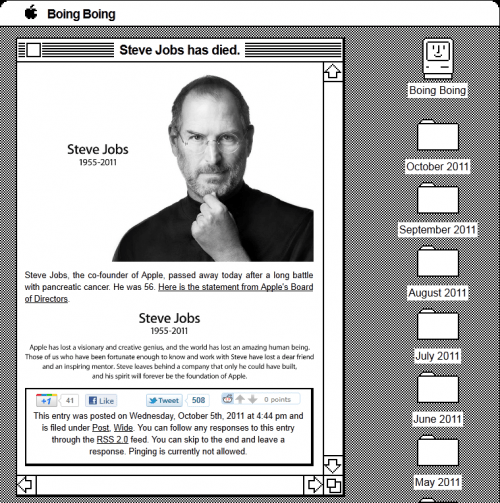 BoingBoing and Wired Pay Tribute to Steve Jobs - 404 Tech Support