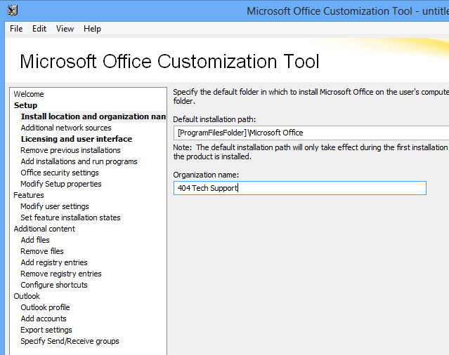 Using the Office 2013 Microsoft Office Customization Tool