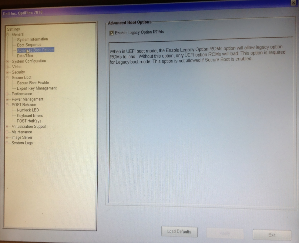 Configuring Dell UEFI BIOS to Legacy mode to install Windows 7 - 404