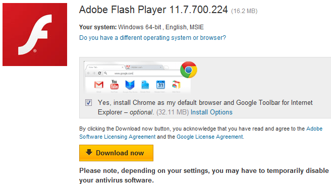 Adobe flash player chrome settings