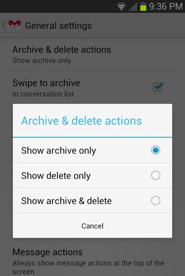 gmail android app settings