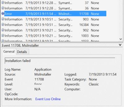 symantec win8 install error