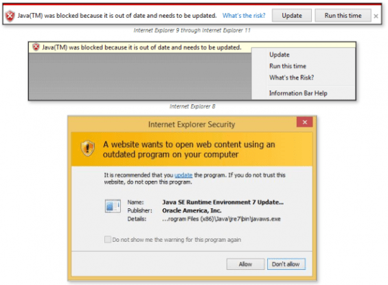 Internet Explorer will block out-of-date Java and other