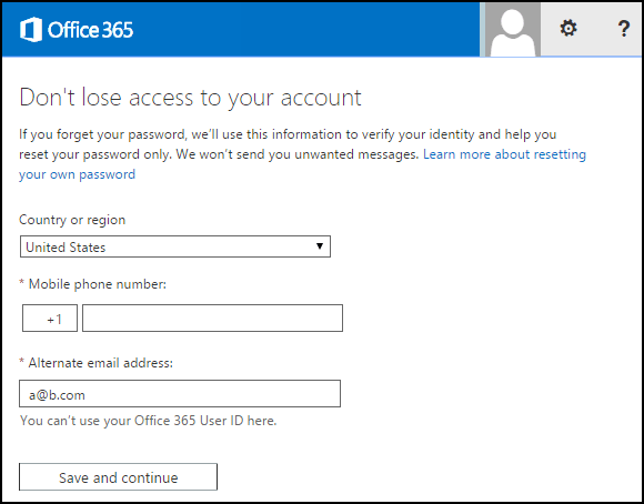 Office 365 Admin keeps asking for phone number and