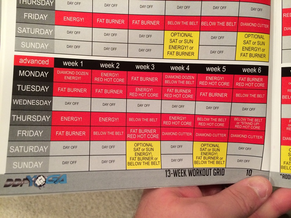 graphic relating to Ddp Yoga Schedule Printable titled Ddp Yoga Exercise session Program Pdf