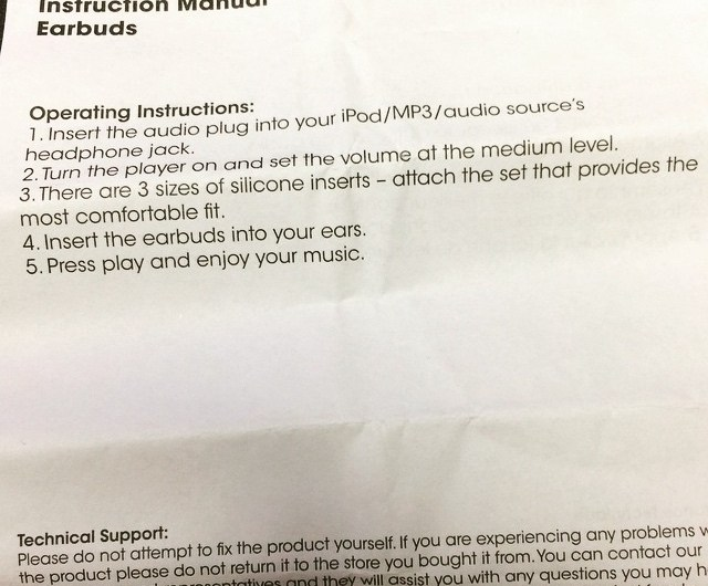 Earbud Instruction Manual? Yes, I'm Serious