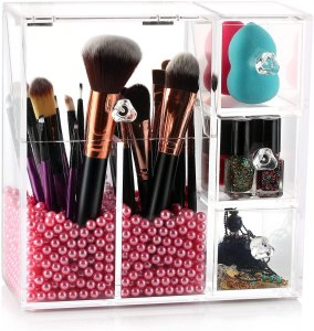 Makeup brushes organizer with 3 storage drawers.