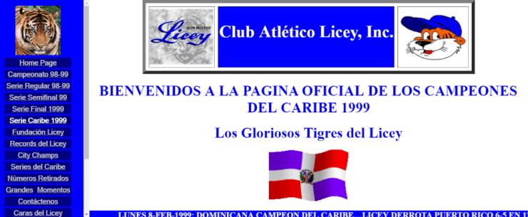 Un pantallazo del viejo licey.com