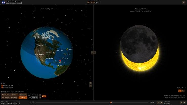 Diagrama de cómo se verá el eclipse en República Dominicana