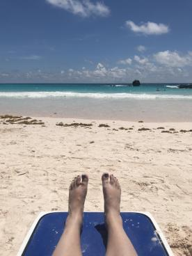 toes in the sand at Horseshoe Bay, Bermuda