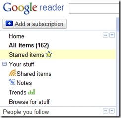 Google Reader Starred Items