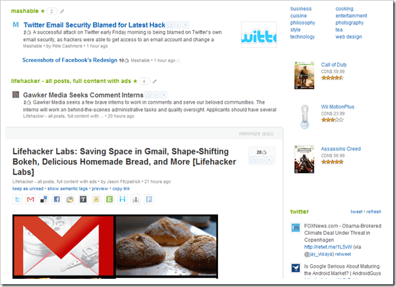 Feedly social media sharing, inline article reading