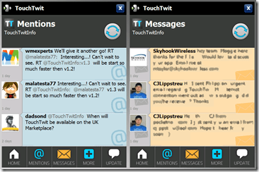 TouchTwit Mentions & Messages