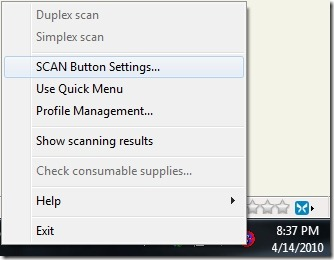 ScanSnap SCAN Button Settings