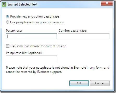 Evernote encryption