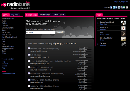 RadioTuna Discover Online Radio