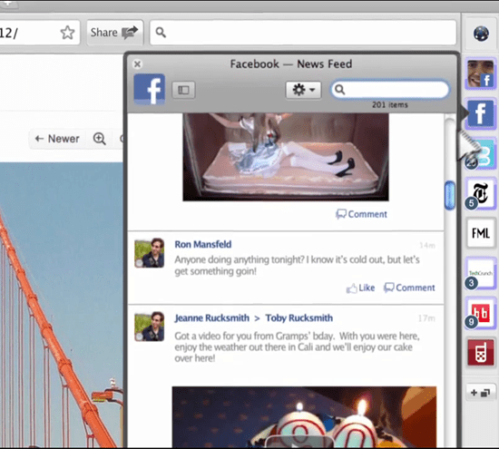 RockMelt Facebook Integration in Google Chrome | 40Tech