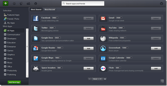 Jolicloud Install Web Apps List | 40Tech