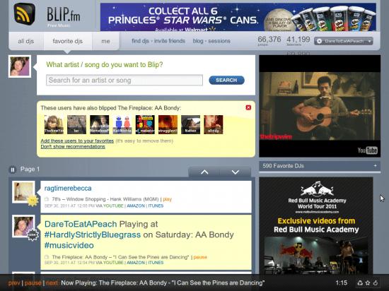 Blip.fm interface