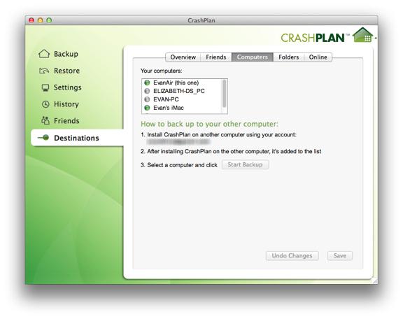crashplan destinations