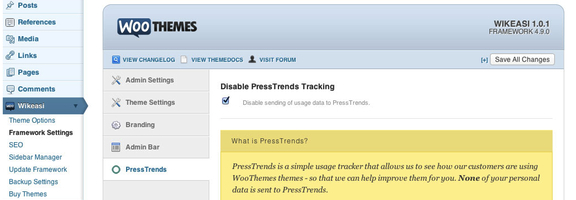 Woothemes tracking