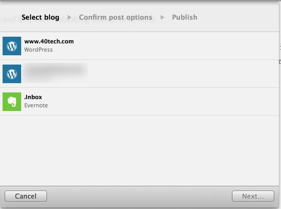 Byword publishing options to Evernote WordPress