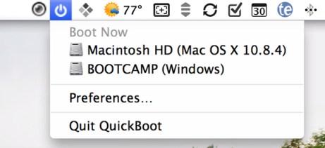 QuickBoot menu bar