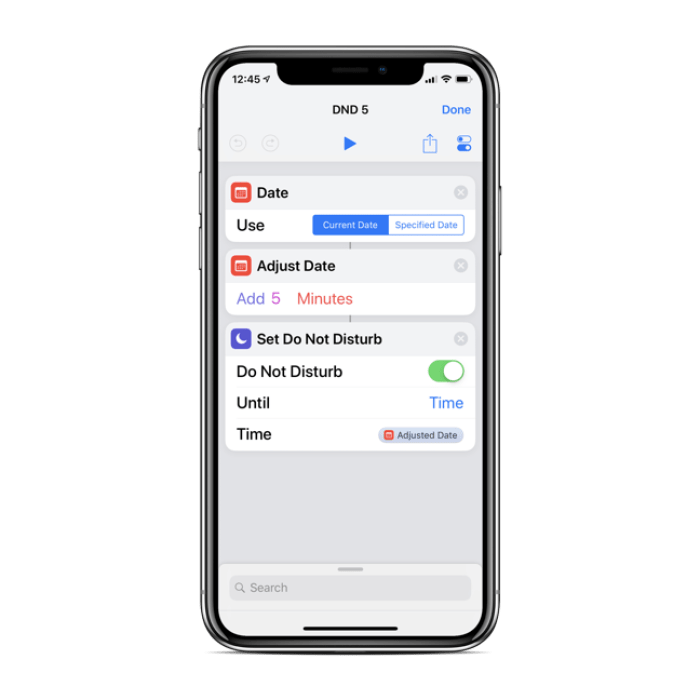 Custom DND iPhone Shortcut