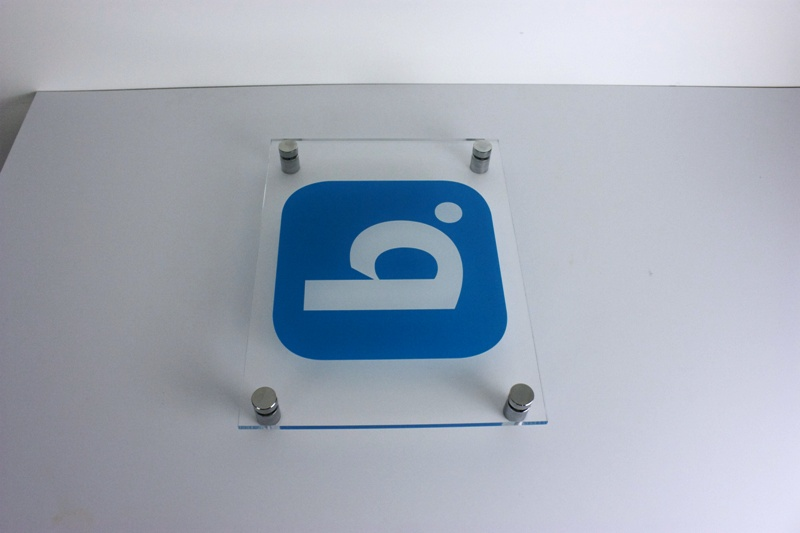 Clear Acrylic Printed Signage advertising wall display standoffs