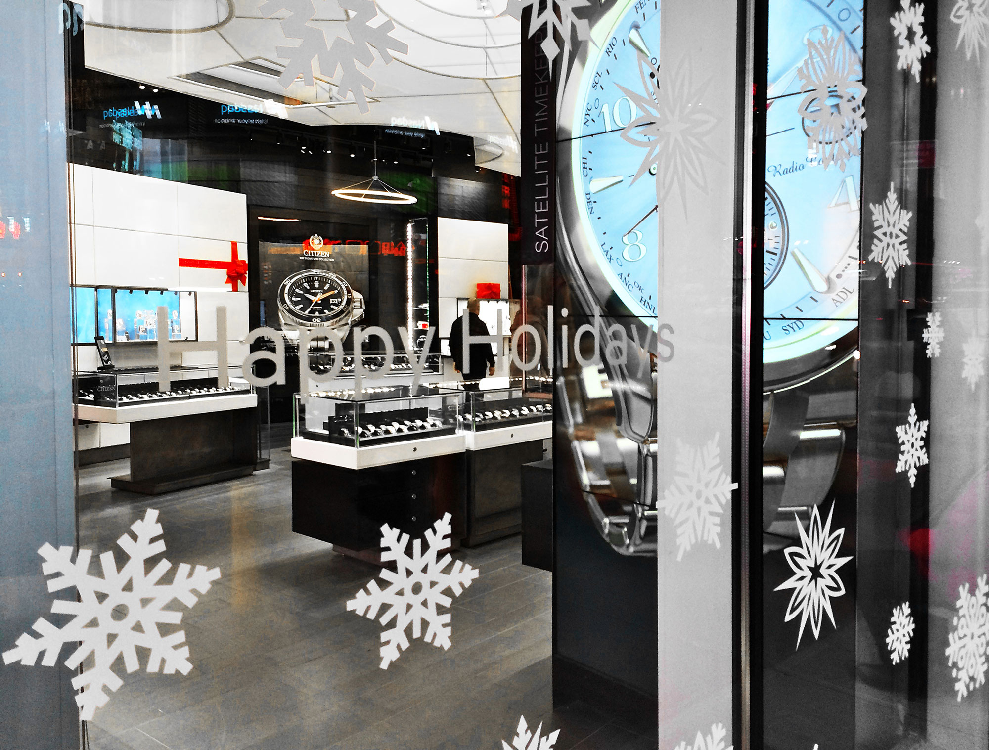 Clear Window Clings for Christmas and Holiday Interior and Exterior Decoration.