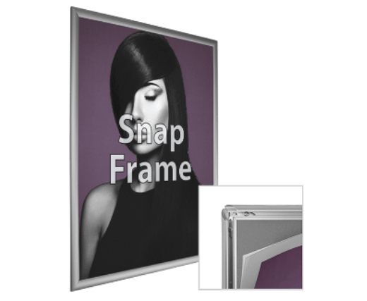 Snap Frame Hardware for Printed Signage for Retail Environment