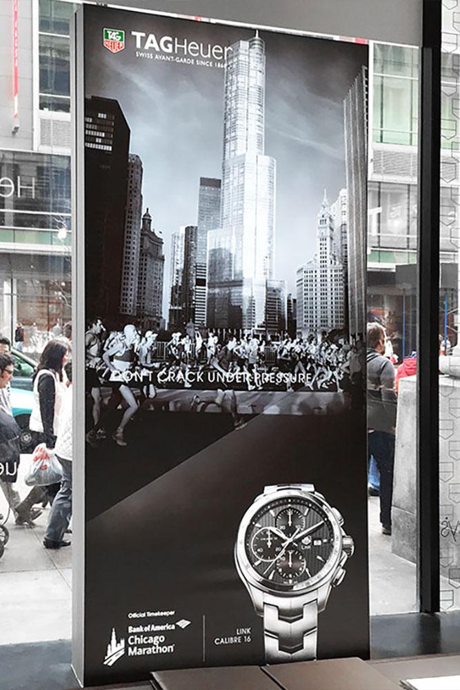 silicone edge fabric graphics TAG Heuer luxury signage Macy's