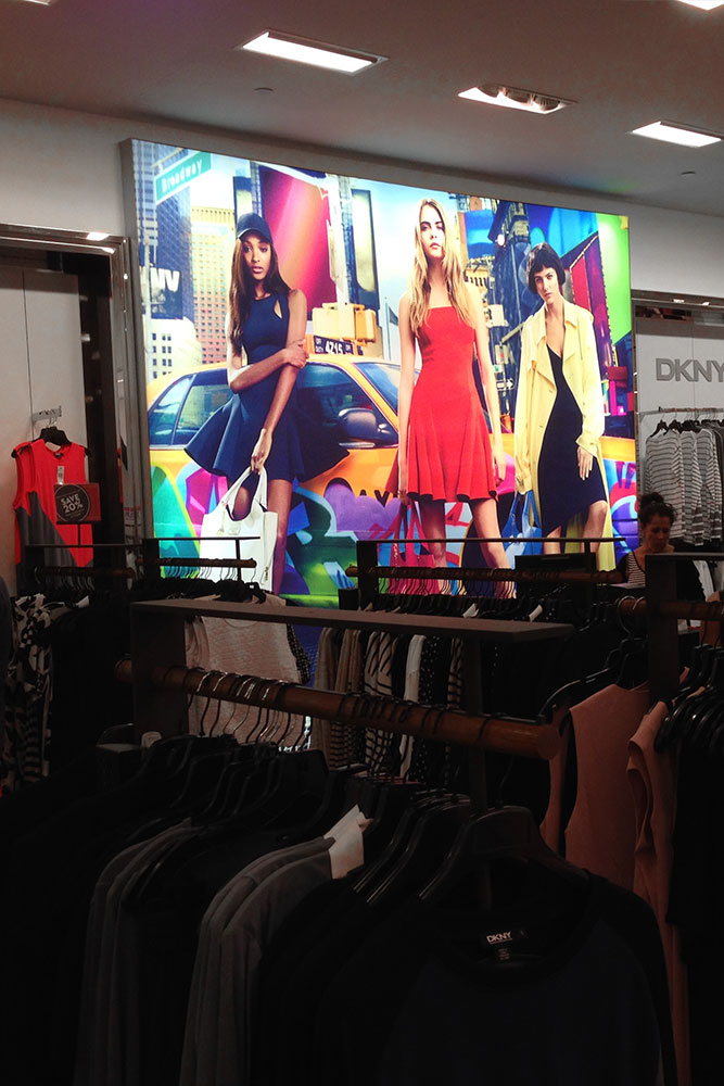 frameless light SEG frame silicone edge fabric signage retail store