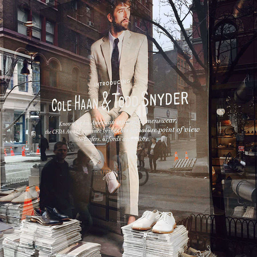 Fronlit SEG Fabric Displays Cole Haan and Todd Snyder