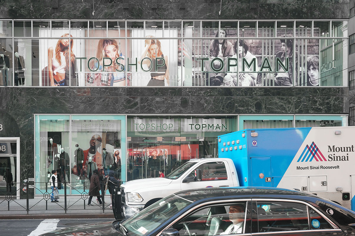printed signage storefront topshop niece retail fashion fabric SEG light boxes