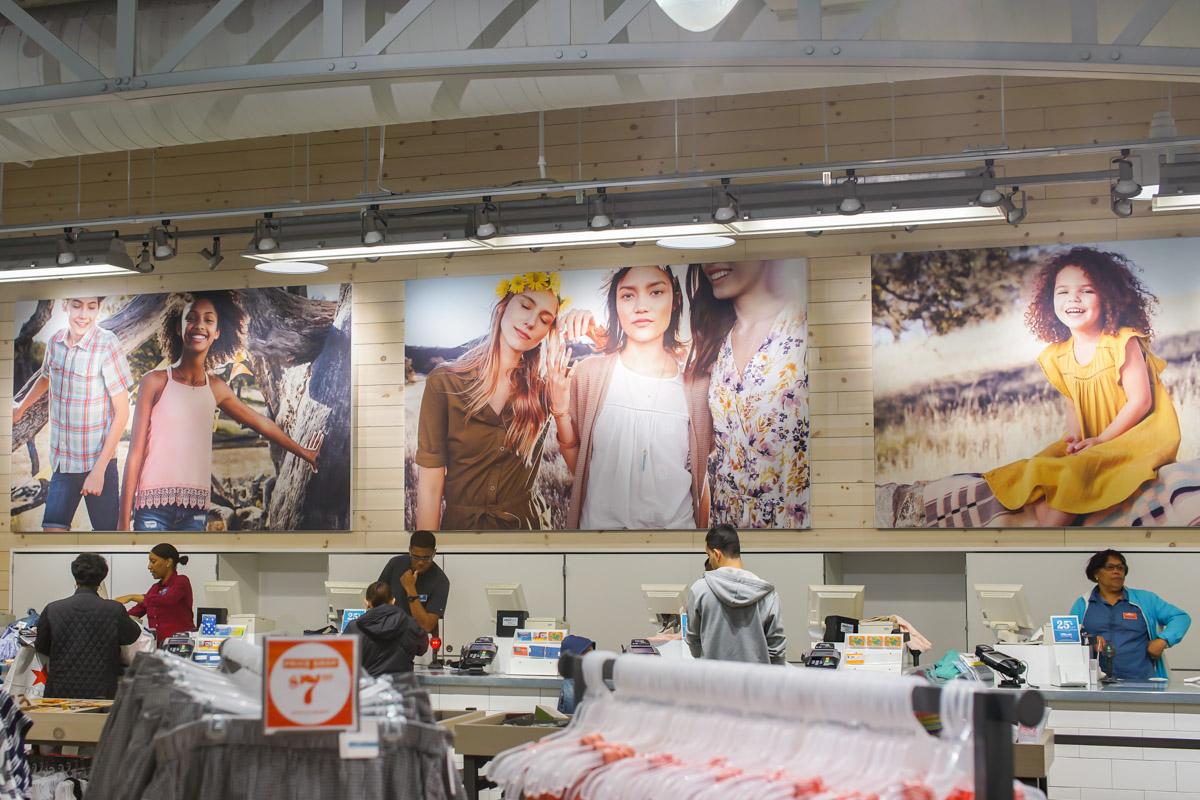 Old Navy Signage Printing Fabric SEG Frames framing in-store printed displays visual graphics design