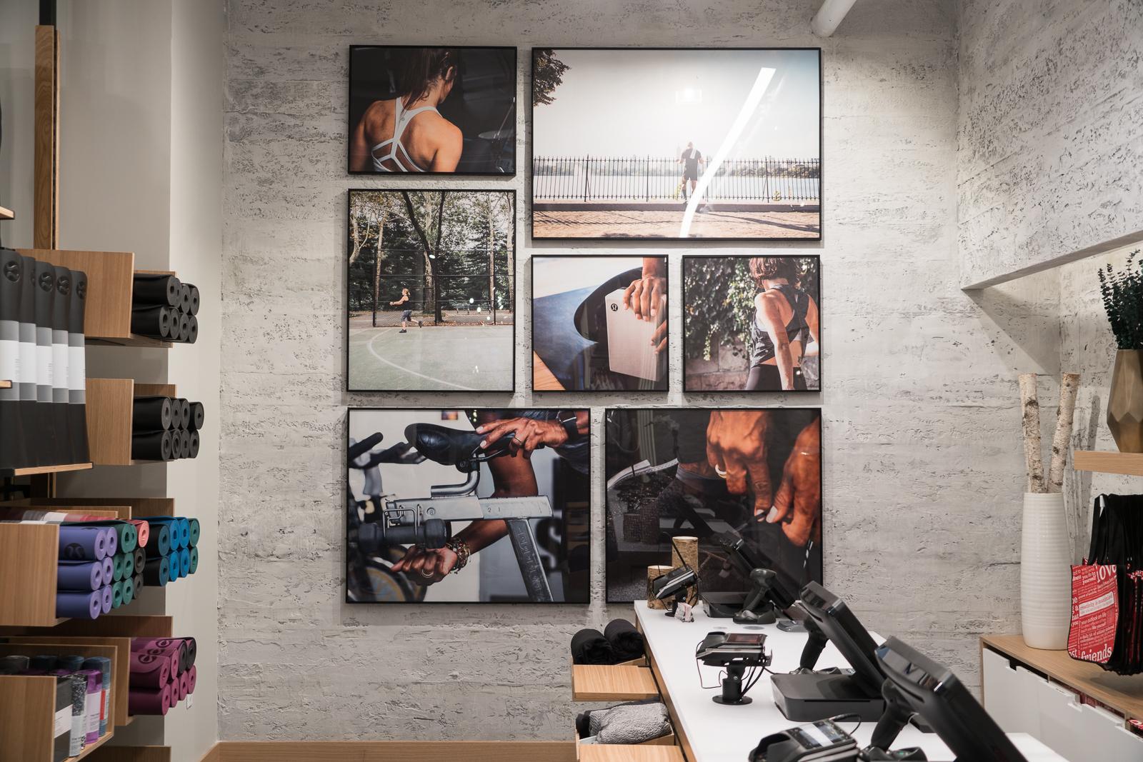 Framed Signage Collage Framed Retail signage at lululemon