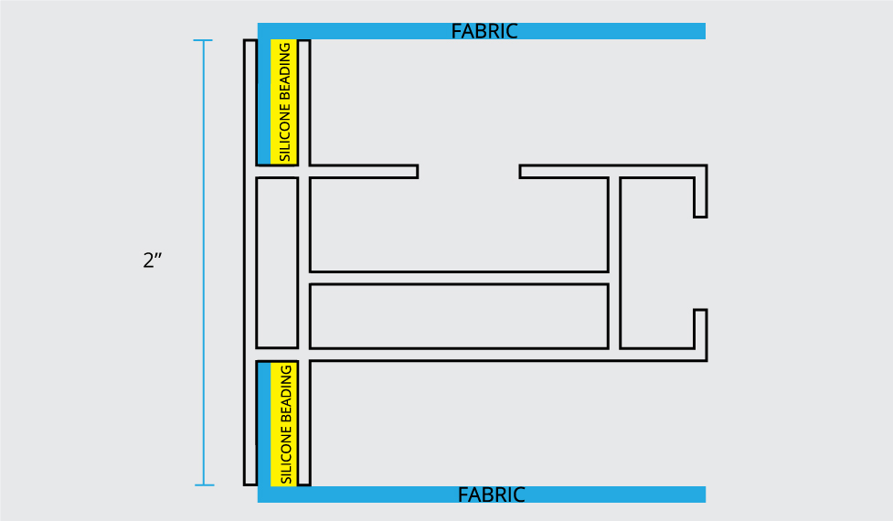 SEG silicone edge spec drawing instructions Fabric frame framing system double-sided Frame profile Visuals Silicone Graphics Merchandising Visual Design Marketing Advertising