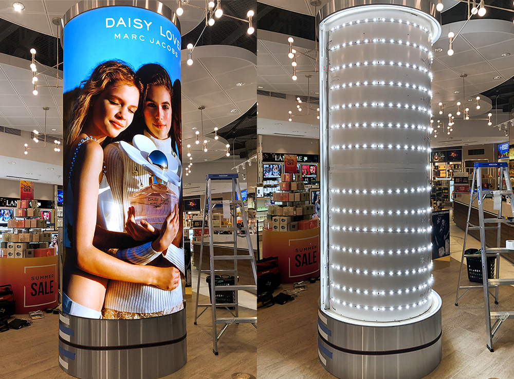 Custom Curved SEG Light Box Backlit Tension Fabric Lightbox for Retail Display signage print printing LED visual merchandising visuals graphic design graphics advertising marketing promotion manufacturing installation