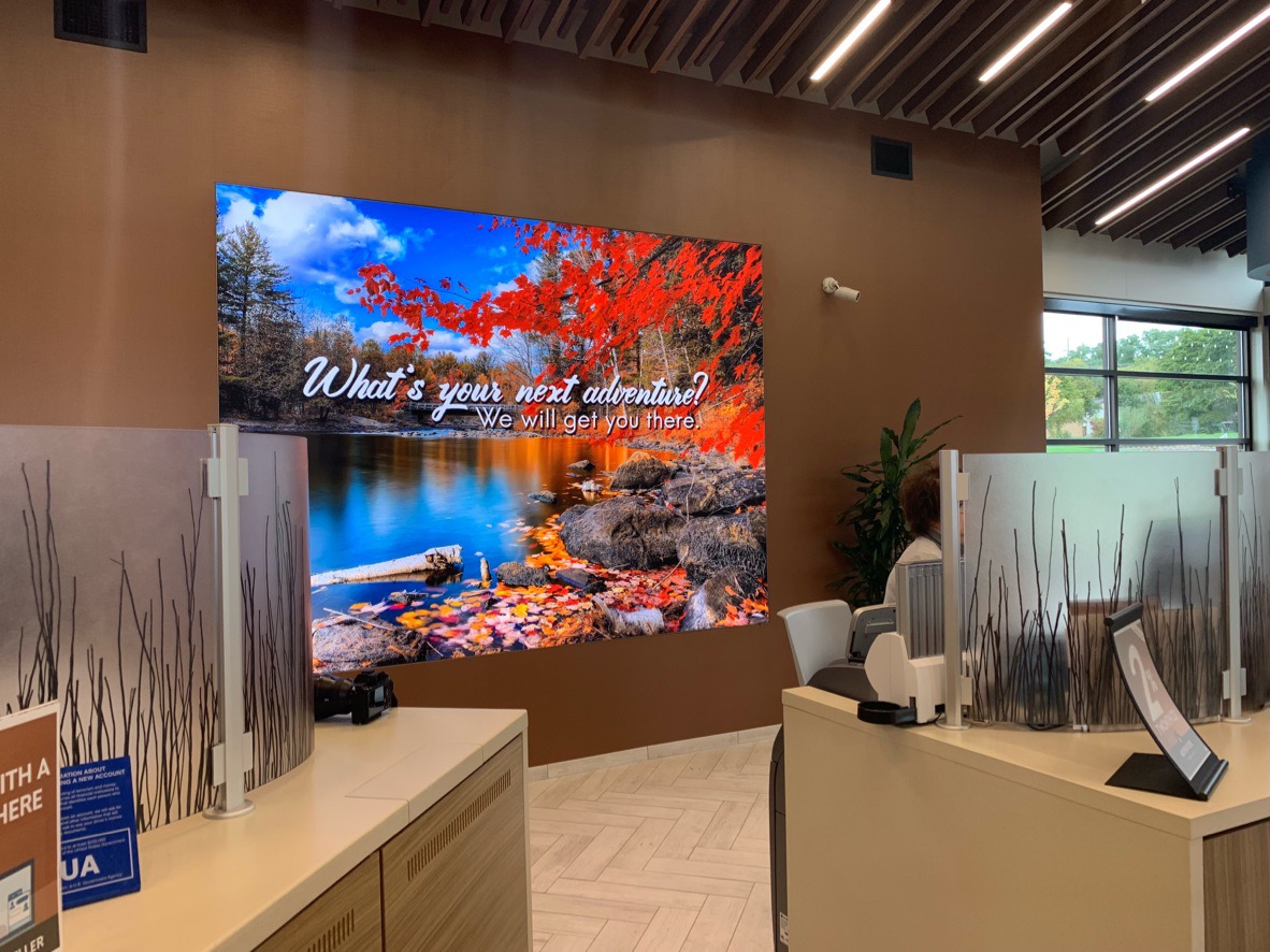 signage backlit fabric SEG frameless recessed wall printing sign banks credit unions