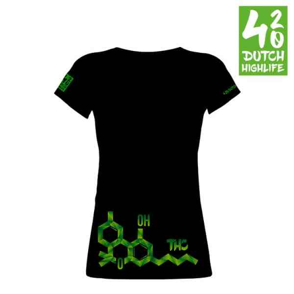 420 Dutch Highlife T-shirt Molecule Dames voorkant