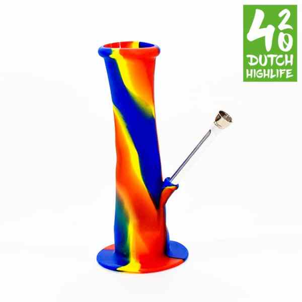 silicone bong rood geel blauw