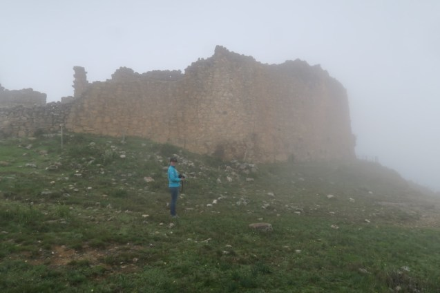 Jordan, with las Monjas in the fog.