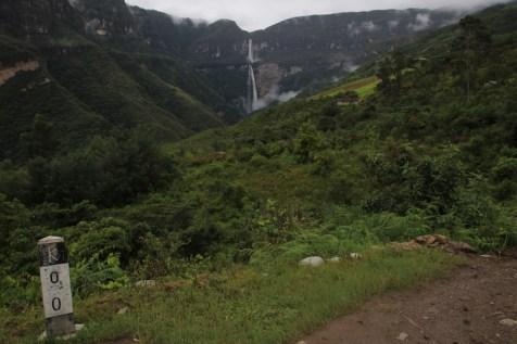 Gocta Falls from a distance.