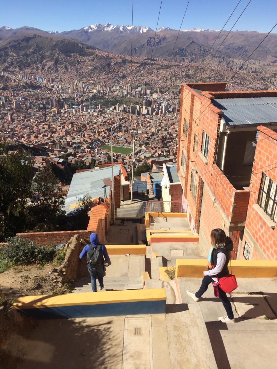 Jordan and Annie walk back down to La Paz from El Alto.