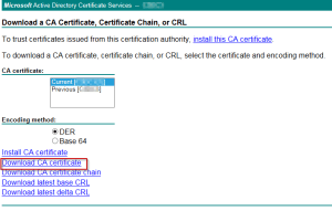 Downloading a copy of the CA Certificiate