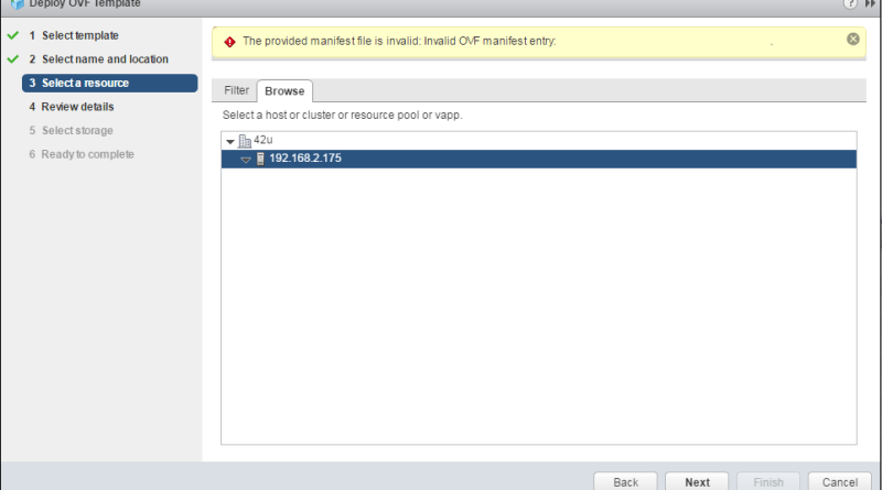 The provided manifest file is invalid: Invalid OVF manifest entry
