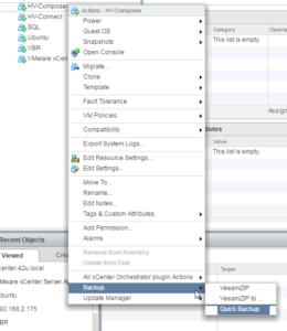 Veeam vSphere web client plug-in